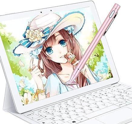 タッチペン スマートフォン タブレット スタイラスペン 極細 iPad/iPhone/Android対応 ツムツム アルミニウム合金製 銅製ペン先1.45mm USB充電式(ピンク)