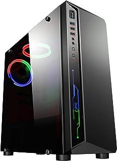 CiT Blitz Case per computer per videogiochi Mid-Tower ATX, illuminazione rossa-blu-verde, ventola con anello luminoso ross...