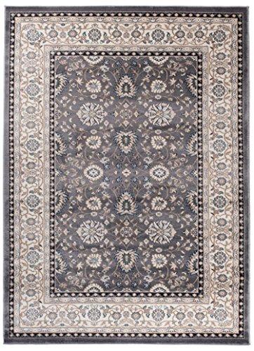Grande Tapis d'Orient - GRIS BEIGE - Motif Persan Traditionnel et Oriental - Tapis de Salon Ultra Doux - ' AYLA ' - 200_x_300_cm