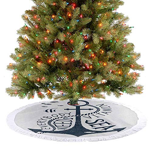 Homesonne Tree Skirt Hand Drawn Everybody Needs Vitamin Sea Quote Monochrome Fish Silhouette Xmas Holiday Decoration for Xmas Party Supplies Large Halloween Dark Blue and White 122 cm