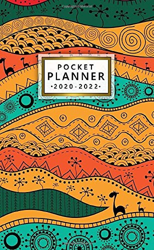 2020-2022 Pocket Planner: Vintage African Tribal Art 3 Year Monthly Organizer with Phone Book, Password Log & Notebook - Pretty Boho Three Year Schedule Calendar & Inspirational Agenda.