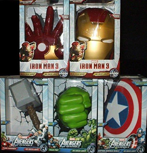 Find Discount Marvel Set/Lot/Bundle 5 Avengers Assemble 3D FX Deco Wall LED Room Night Lights