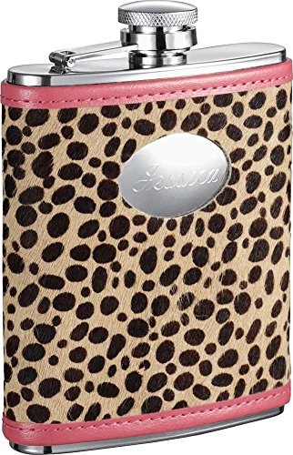 Personalized Visol Cheetah 6oz Pink Leather Stainless Steel Flask with Free Engraving