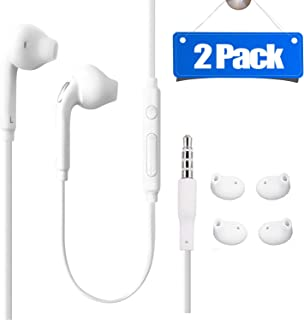 Sobrilli (2 Packs) 3.5mm Wired in-Ear Headphones with Mic and Remote Control,  Aux Earphones/Earbuds Compatible with Galaxy S10 S9 S8 Note 8 9 and More Android Devices-White
