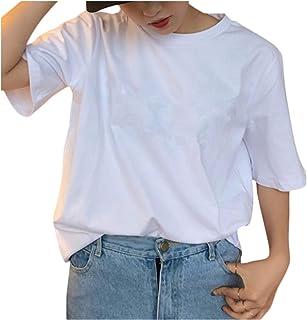 [ユーミート] 半袖Tシャツ カットソー ゆったり レディース S~XXL(白・黒)