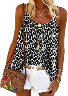 Yeirui Womens Sexy Summer Leopard Strap Spaghetti Print Tank Top Cami Blouse Shirts