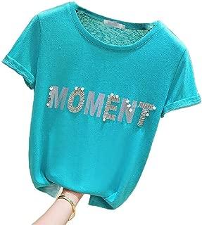 MogogoWomen Short-Sleeve Shiny Fashionable Printing Sequin Casual T-Shirt
