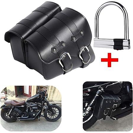 1 Paar Motorrad Satteltaschen Leder Abnehmba Wasserdichte Schwarz Universal Für Harley Motorrad Satteltasche Triangle Bag Kit Auto