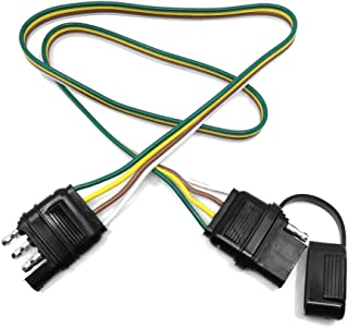 Trailer Wire Extension Plug, 4 Pin Hitch Light Trailer Wiring Harness Extender with Rubber Cab for LED Brake Tailgate Light Bar, 32