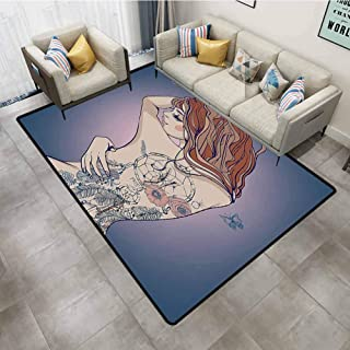 Outdoor Rugs Girly Decor Collection Sexy Woman Posing with Tribal Dreamcatcher Tattoos on Her Back Nudity Human Body Graphic Work Multi Carpet Padding 4'x6'