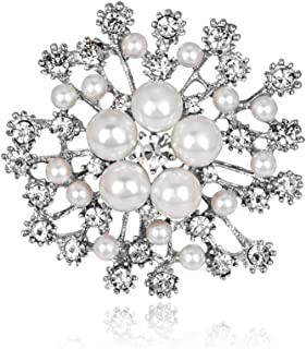 AILUOR Elegant Faux Pearl Flower Brooch Pin, Fashion Silver/Gold-Tone Pearl Floral Crystal Corsage Brooch Lapel Pin for Wedding Bridal Bouquet Jewelry