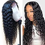 VRVOGUE 4x4 Deep Wave Lace Closure Wig Brazilian Human Hair 24 Inch Lace Wig Pre Pluckled with Baby Hair 9A Brazilian Virgin Human Hair Lace Frontal Wigs for Women Natural Hairline Black Color