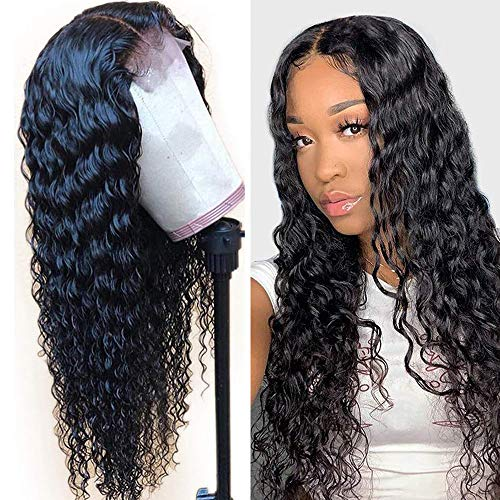10 Inch Glueless Lace Front Human Hair Wigs Pre Plucked Brazilian Deep Wave Human Hair Wig with Baby Hair Glueless Lace Wigs Front Human Wig 9A 150% Density Pre Plucked Wig Natural Hair Line