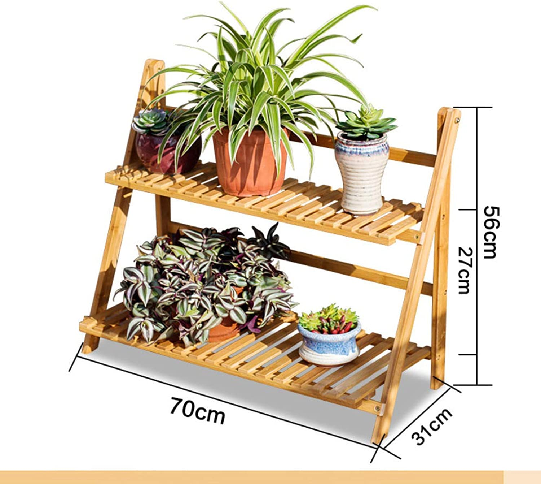 Bamboo Foldable Plant Stand Flower Rack Shelf,Multi-Layer Pot Wood Shelves Planter Organizer Garden Balcony Display Shelves-B