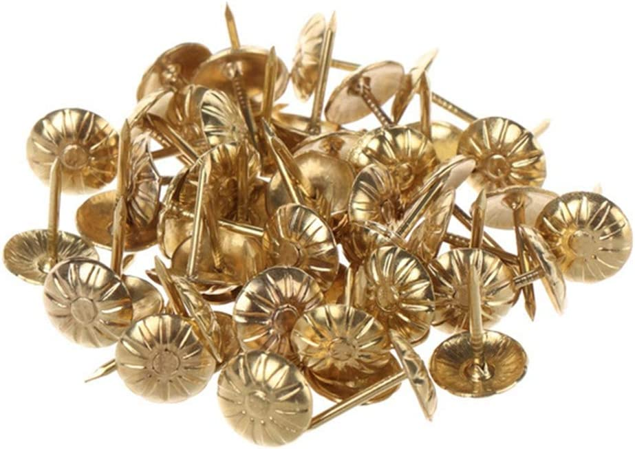 LIANGCHEN Upholstery Nails Pins Kit, Antique Brass Furniture Tacks Decorative Nail Heads Pins, Upholstery Push Pins Tacks for Sofa Headboards(300pcs-Gold)