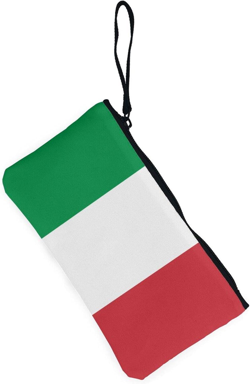 AORRUAM Italy Flag Canvas Coin Purse,Canvas Zipper Pencil Cases,Canvas Change Purse Pouch Mini Wallet Coin Bag