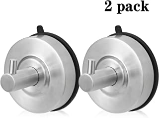 Sugelary Towel Hook Heavy Duty, Vacuum Suction Cup Hooks Robe Hook Towel Hooks for Bathroom Reusable Stainless Steel Coat/Robe Clothes Hooks Brushed Nickel for Bathroom Kitchen Hotel