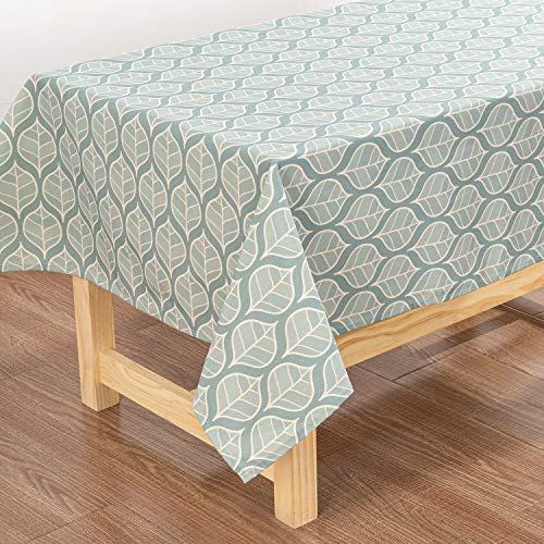 YISHU Mantel rectangular con efecto loto, resistente al agua, protección antimanchas, fácil de limpiar, repele la suciedad, verde menta, 100x140cm