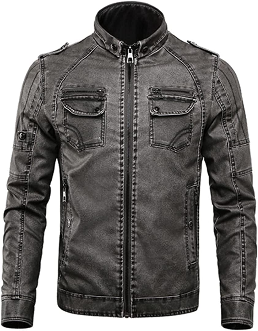 Leather Jacket Men Casual Fleece Thicken Faux Leather Coats College Moto Biker Bomber Jackets
