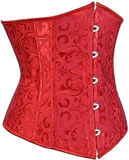 مشد لمنطقة أسفل الصدر للنساء، مشد قوطي زهري مثير لانجري صغير، زي كلاسيكي بدون كؤوس، مقاس كبير أحمر (اللون: أحمر، المقاس: 6XL)