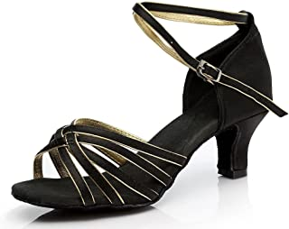 Lovedanshoes Black and Golden Latin Shoes Satin Cross Strap Dancing Shoes for Women