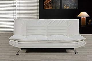 comprar comparacion HOGAR24 Sofá Cama Clic Clac Piel Ecológica y Patas Cromadas, Color Blanco.