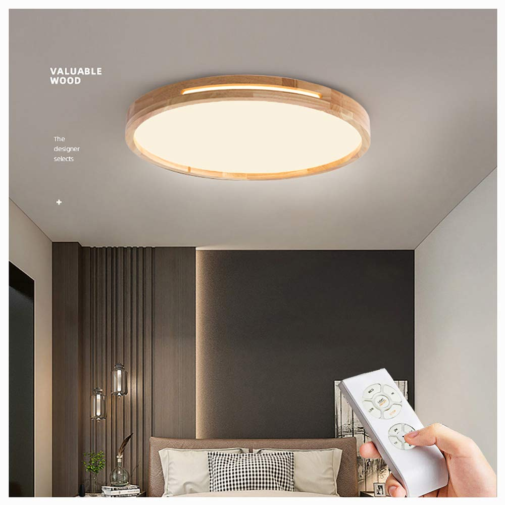LED Deckenleuchte 8w,Nordic Modern Holz Deckenlampe Φ8cm Runde