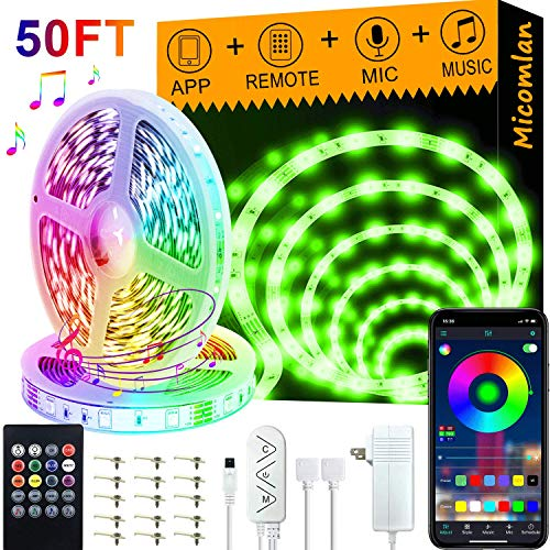 Micomlan 50ft/15M Led Strip Lights,Music Sync Color Changing RGB LED Strip Lights Built-in Mic, Bluetooth app Controlled LED Lights Rope Lights, 5050 RGB LED Light Strip(APP+Remote+Mic+3 Button)