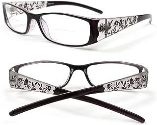 Reading Glasses Bifocal Floral Pattern Crystal Readers 100-400 (2.50, Black)