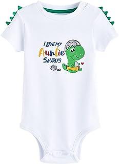 WAWSAM Dinosaurio Bebé Body I Love My Auntie Body de Manga Corta Unisex Bebé
