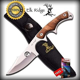 Elk Ridge Laser Cut Blade, Burlwood Handle Hunting Skinning SHARP KNIFE with Sheath Combat Tactical Knife + eBOOK by Moon Knives