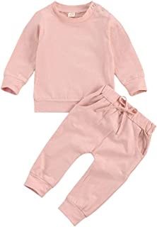 Infant Baby Unisex Outfits 2PCS Sets Long Sleeve Round Collar Solid Colour Top Shirt Pullover Sweatshirt + Long Pants Trac...