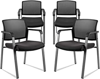 CLATINA Mesh Back Stacking Arm Chairs with Upholstered Fabric Seat and Ergonomic Lumber Support for Office School Church Guest Reception BIFMA Certified Black 4 Pack Set New Version