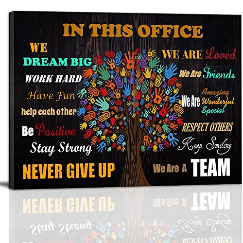 Inspirational Wall Art Motivational Poster Quotes Office Wall Decor for Girls Women Room Décor Wall Art for Office Canvas Print Framed Rustic Canvas Art In This Office 12x16inch Ready to Hang