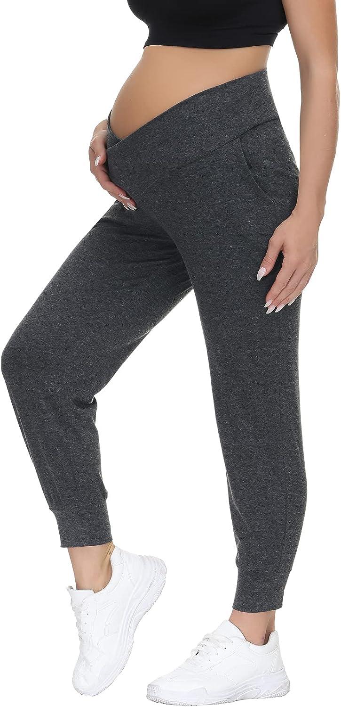 HOFISH Women's Maternity Pants Cross Waist V-Shaped Pregnancy Leggings with Pockets at  Women's Clothing store