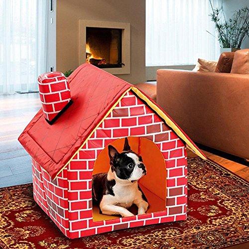 Ausomely Hundehöhle Katzenhöhle Hundehütte Hundebett Katzenbett Hundehaus Haustier Zwinger Abnehmbares Dach kleine Haustier Red Brick Pet House Hundebett