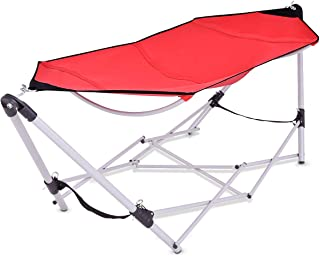 Giantex Portable Folding Hammock Lounge Camping Bed Steel Frame Stand W/Carry Bag (Red)