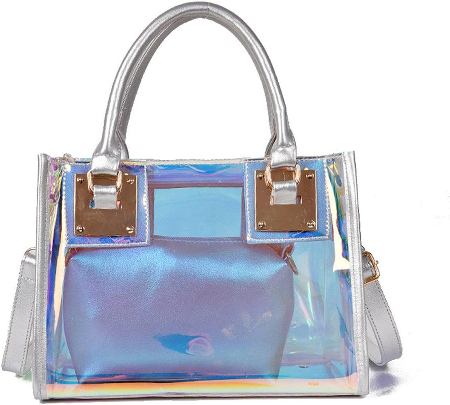 Marchome 2-in-1 Hologram Top Handle Handbag Crossbody Shoulder Bag