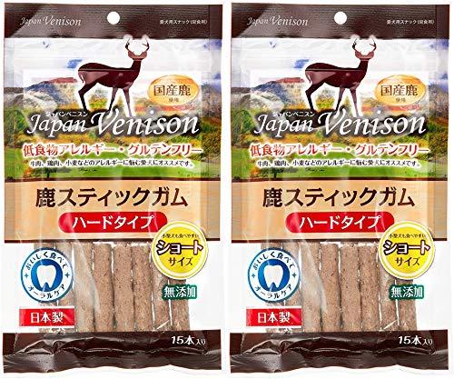 アスク (Asuku) ジャパンベニスン 無添加グルテンフリー鹿スティックガムハード(ショート) 15本×2袋