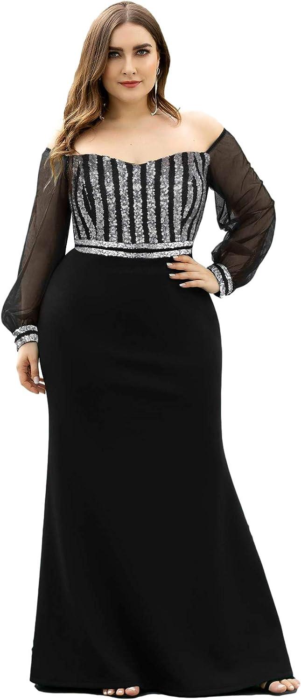Plus Size Retro Dresses 50s, 60s ,70s, 80s, 90s Ever-Pretty Womens Cold Shoulder Sequin Dress Mermaid Plus Size Evening Dress 0711  AT vintagedancer.com