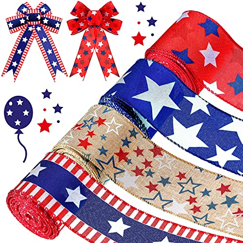 Wiaxin 26 Yards Independent Day Ribbon Five-Pointed Star Wired Edge Ribbon Patriotic Stars Stripes Ribbon Vertical Stripe Craft Ribbon for Independent Day Decor Hair Bows Wrapping Sewing