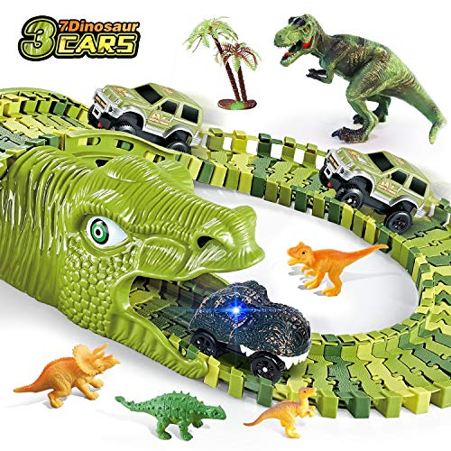 Dinosaur Toys, 260 Pcs Dinosaur Car Race Track Toy with 250 Flexible Train Track Playset, Includes 3 Cars, 7 Dinosaur and 2 Dinosaur Head Best Gift for Boys Girls Ages 3 4 5 6 7Years Old and Up