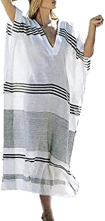 FEIFAN お洒落な Vネック レディース 夏の日焼け対策 ロング ワンピース パレオ 水着 ビキニ 体型カバー エレガント リゾート 海辺旅行 ビーチウェア 海辺 羽織り ロング