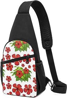 PGTry Fondo sin costuras con flores de hibisco rojas, mochila ligera para el hombro, mochila para el pecho, bolsa cruzada,...