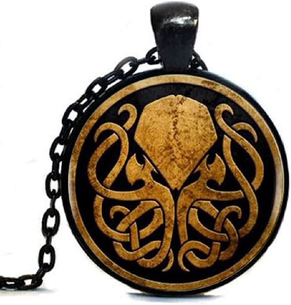 AttractionOil Gifts Black on Black Vintage Cthulhu Cabochon Pendant Necklace