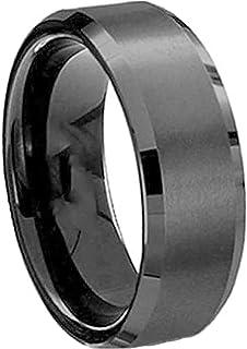 خاتم اسود من فولاذ التيتانيوم  للرجال مقاس 8 امريكي