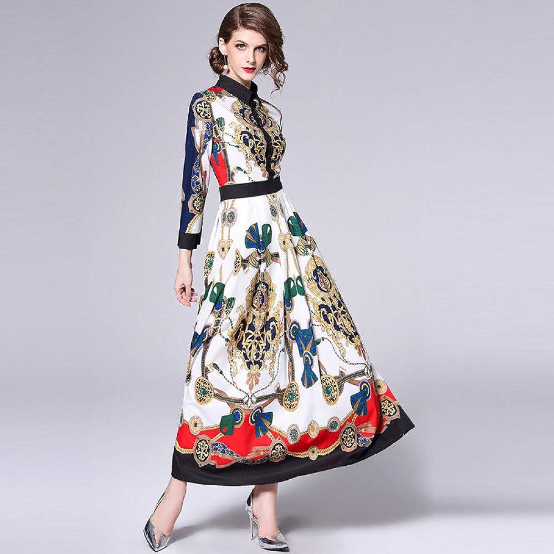 Cxlyq Dresses Autumn Long Sleeve Fashion Slim Printed Dress