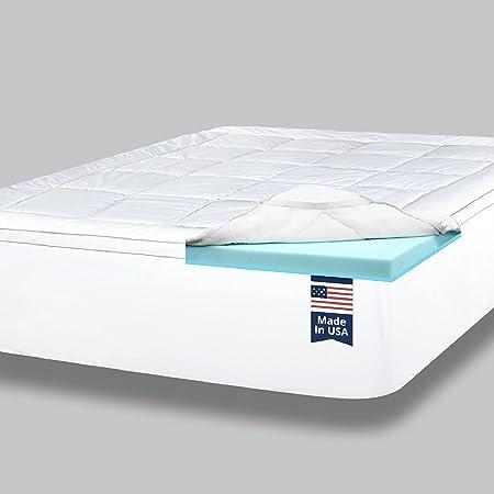 ViscoSoft 4 Inch Pillow Top Gel Memory Foam Mattress Topper Twin XL - Made in USA - Serene Dual Layer Mattress Pad