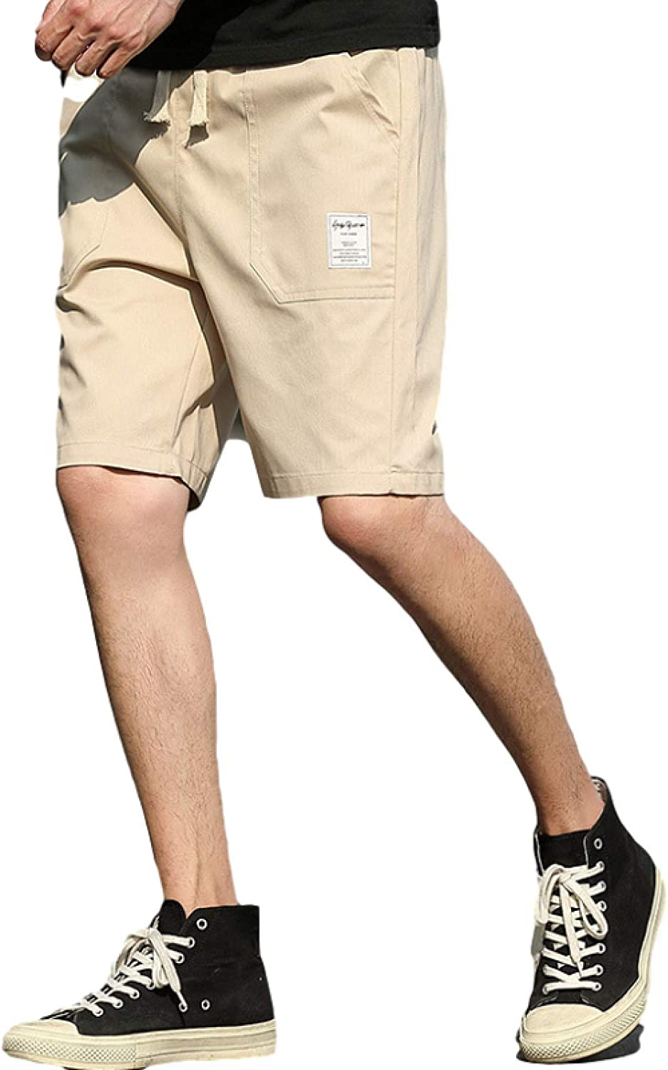 Men's Simple All-Match Cargo Shorts Fashion Solid Color Casual Drawstring