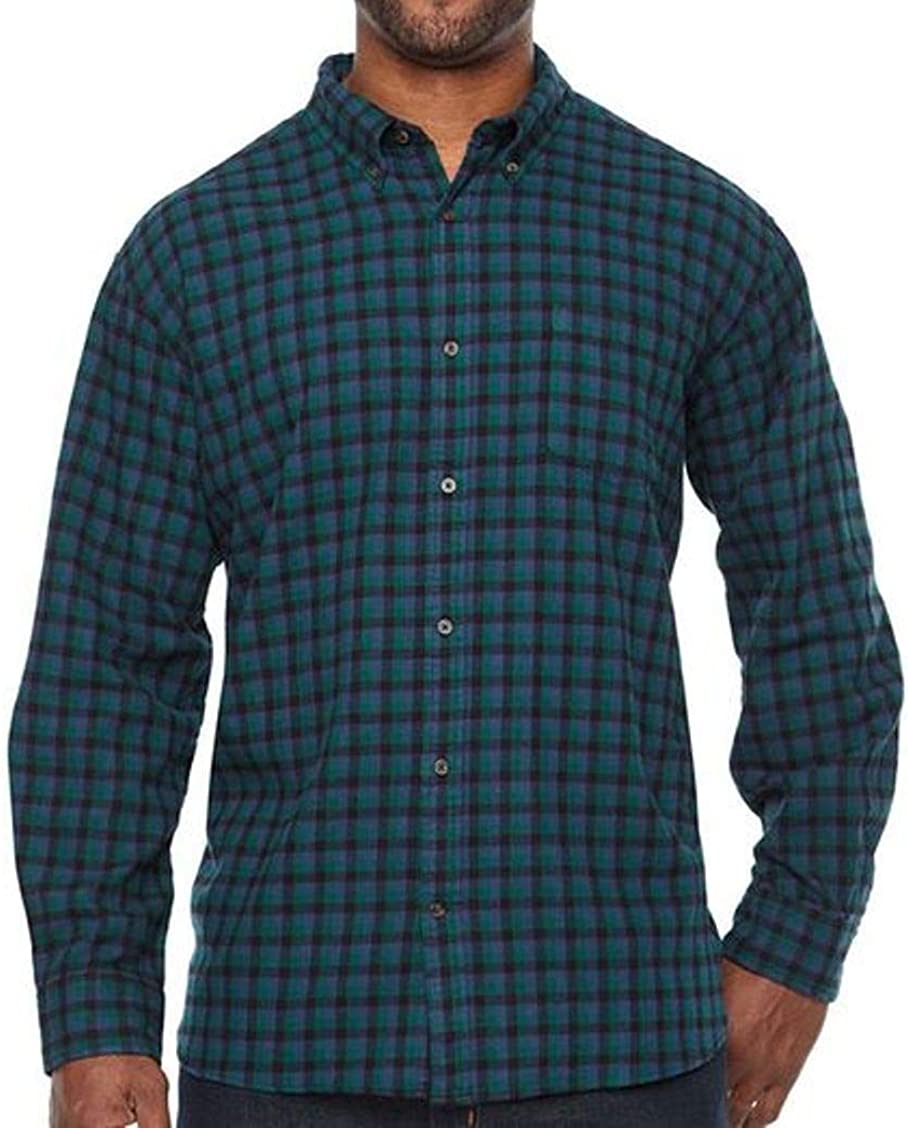 The Foundry Supply Men's Classic Fit Long Sleeve Flannel Shirt Indigo Black Check